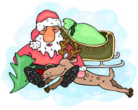 Tired Santa Claus and reindeer Royalty Free Stock Photos