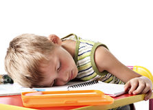 Tired school boy Stock Photography