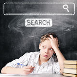 Tired school boy Royalty Free Stock Image