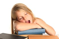 Tired School Girl Royalty Free Stock Photography