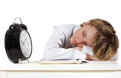 The tired schoolboy. Sleeps on the lesson Royalty Free Stock Photo