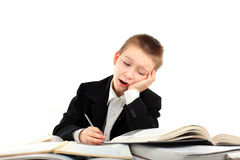 Tired schoolboy Royalty Free Stock Photos