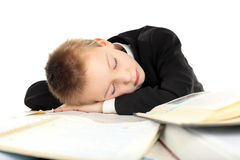 Tired schoolboy Stock Images