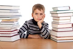Tired schoolboy Royalty Free Stock Image