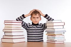 Tired schoolboy Royalty Free Stock Images