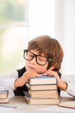 Tired schoolboy. Royalty Free Stock Images