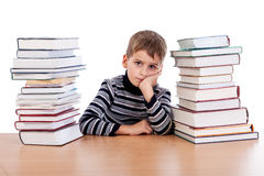Tired schoolboy Royalty Free Stock Photography
