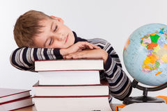 Tired schoolboy Stock Photography