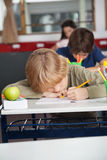 Tired Schoolboy Sleeping At Desk Royalty Free Stock Images
