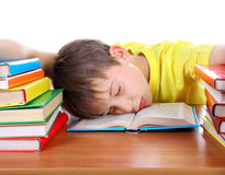 Tired Schoolboy sleeping Royalty Free Stock Photography