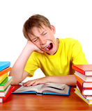 Tired Schoolboy yawning. Tired Kid Yawn at the School Desk with a Books on the White Background Royalty Free Stock Image