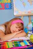 Tired schoolgirl Royalty Free Stock Photo