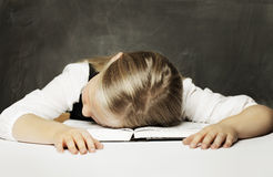 Tired schoolgirl Royalty Free Stock Image