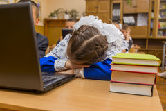 Tired schoolgirl Royalty Free Stock Photography