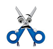 Tired scissors cartoon Stock Photography