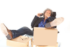 Tired senior employee Stock Photos
