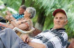 Tired senior man Stock Images