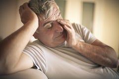 Tired senior man. stock images