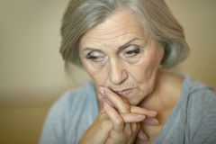 Tired senior woman Stock Photography