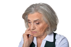 Tired senior woman Royalty Free Stock Images