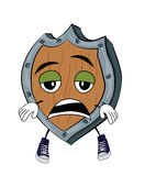 Tired Shield cartoon Royalty Free Stock Photography