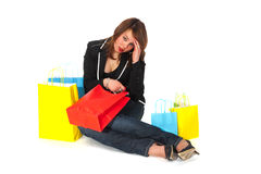Tired from shopping Royalty Free Stock Image