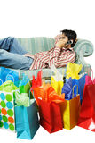 Tired after shopping Royalty Free Stock Photo