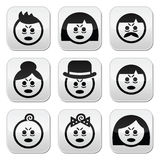 Tired or sick people faces icons set Stock Images