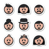 Tired or sick people faces icons set. Vector icons set of people looking sleepy or stressed isolated on white Royalty Free Stock Image
