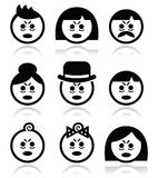 Tired or sick people faces icons set. Vector icons set of people looking sleepy or stressed  on white Royalty Free Stock Photography