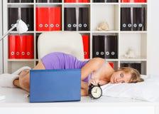 Tired sleeping young woman. Stock Image