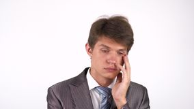 Tired and Sleepy Man . gesture. White background stock footage