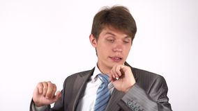 Tired and Sleepy Man . gesture. White background stock video