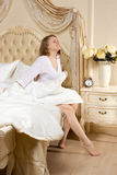 Tired sleepy woman waking up Royalty Free Stock Photography