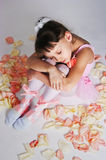 The tired small ballerina Royalty Free Stock Images