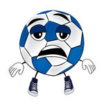 Tired soccer ball cartoon Royalty Free Stock Image