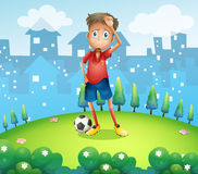 A tired soccer player at the top of the hill. Illustration of a tired soccer player at the top of the hill Royalty Free Stock Photography