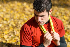 Tired sportsman resting Royalty Free Stock Photo