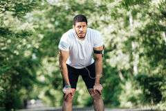 Tired sportsman standing and resting after jogging in park Stock Photo