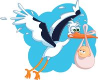 Tired Stork with Baby Flying Vector Cartoon stock images