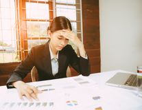 Tired and stress young business woman Royalty Free Stock Photo