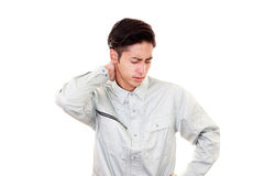 Tired and stressed Asian worker. Portrait of an Asian worker Royalty Free Stock Photo