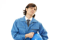 Tired and stressed Asian worker. An asian worker on white back ground Stock Image