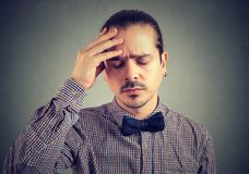 Tired stressed man looking desperate royalty free stock images