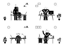Tired, stressed, unhappy, bored stick figure woman office vector icon set. Hard working business lady pictogram. royalty free illustration