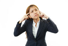 Tired and stressed young business woman Royalty Free Stock Image