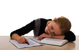 Tired student. Fell asleep while studying stock images