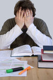Tired student. Learning and reading books Royalty Free Stock Photography