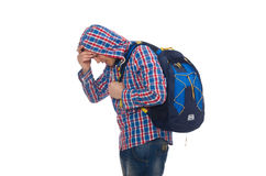 The tired student with backpack isolated on white Stock Images
