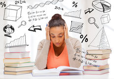 Tired student with books and notes